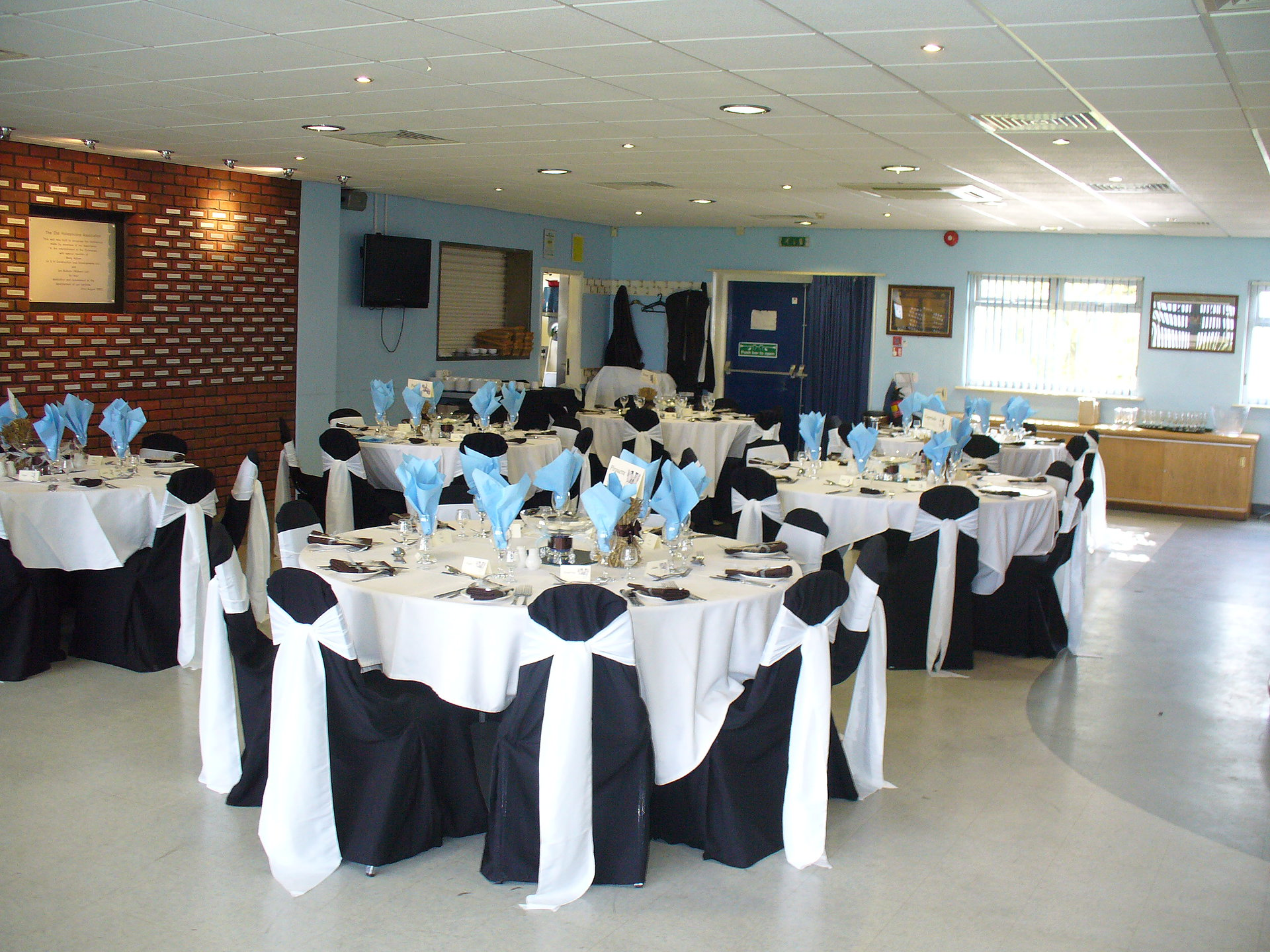 A view of the function room dressed for a wedding
